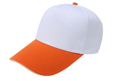 China Kids Stylish Baseball Caps Stitching White And Orange , Washed Canvas Baseball Hat supplier