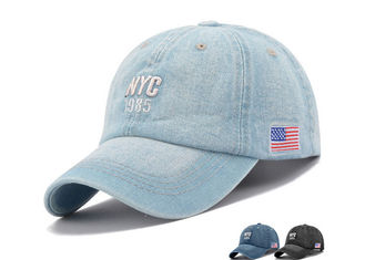 Fashion Style Light Blue Denim Cap , Soft Touch 5 Panel Female Baseball Caps