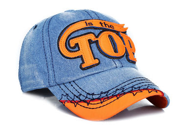 Women / Men Embroidery Denim Baseball Cap 6 Panel Fashion Style For Daily Decoration