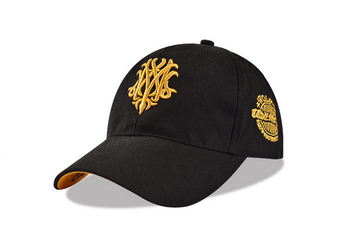 20825bc4e8785 5 Panel Black Cotton Baseball Cap Twill Sandwich Embroidery Gold Logo Anti  - Dust