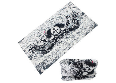 China Skull Logo Fishing Neck Scarf Microfiber Polyester White Black Color distributor