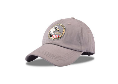 China Grey Embroidered Low Profile Baseball Cap , Girls Flexfit Baseball Hats Customized factory