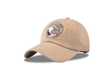 China Beige Waterproof Golf Cotton Baseball Cap 3D Embroidery Modern Style Soft Touch factory