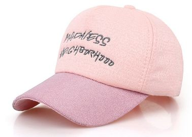 China Pink Cotton Baseball Cap Embroidery Logo Fashion Style With Adjustable Strap factory