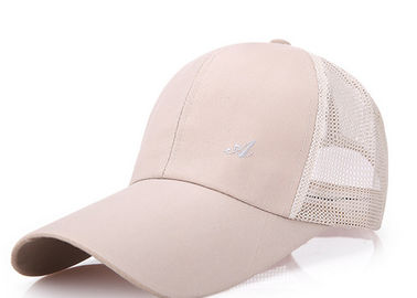 China Adjustable 6 Panel Mesh Ball Caps , Mesh Golf Hats Absorb Sweat Simple Style distributor