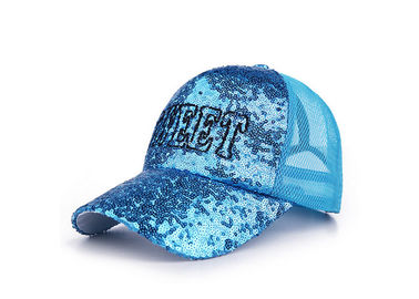 China Sequins Blue Boys Mesh Baseball Caps Embroidery Breathable Good Flexibility factory