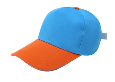 China Orange And Blue Canvas Baseball Cap Stitching 6 Panel Fashion Style Soft Touch factory