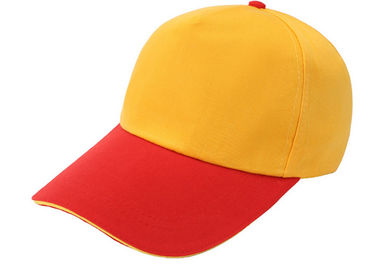 China Stitching Yellow And Red Canvas Baseball Cap 6 Panel Comfortable With Adjustable Strap distributor