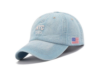 China Fashion Style Light Blue Denim Cap , Soft Touch 5 Panel Female Baseball Caps distributor