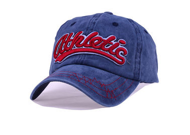 China Red 3D Embroidery Denim Baseball Cap 5 Panel Soft Touch For Outdoor Activities distributor