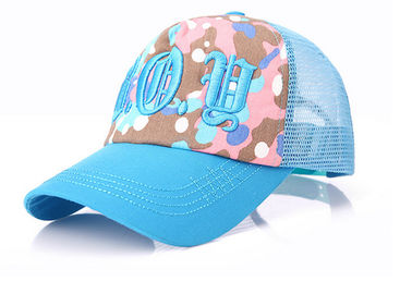 China 6 Panel Blue Mesh Baseball Caps Fashion Style Good Air Permeability For Outdoor Activities distributor
